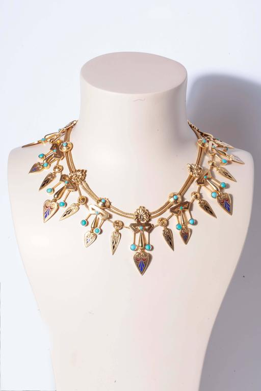 Antique French Egyptian Revival Enamel Turquoise Gold Necklace and Earrings 8