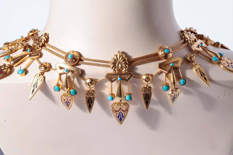 Antique French Egyptian Revival Enamel Turquoise Gold Necklace and Earrings 2