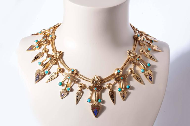Antique French Egyptian Revival Enamel Turquoise Gold Necklace and Earrings 9