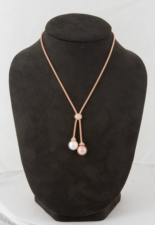 Round Cut South Sea and Fresh Water Pearl Diamond Gold Pendant For Sale
