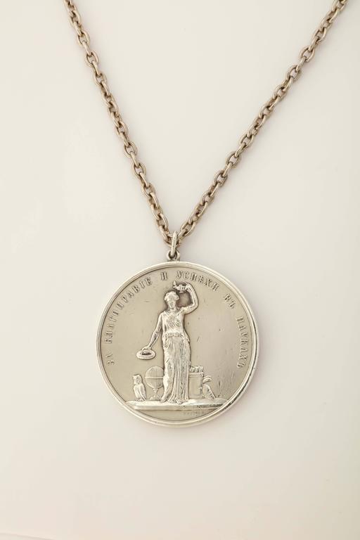 Women's or Men's 1890s Russian Silver Empress Maria Feodorovna Medallion For Sale