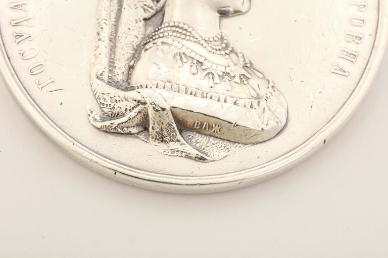1890s Russian Silver Empress Maria Feodorovna Medallion For Sale 6