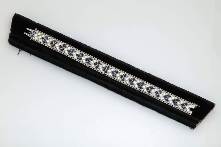 1920s Art Deco French Cut Sapphire Diamond Platinum Flexible Bracelet 3