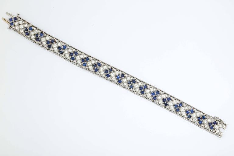 1920s Art Deco French Cut Sapphire Diamond Platinum Flexible Bracelet 4
