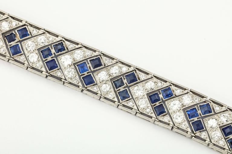 1920s Art Deco French Cut Sapphire Diamond Platinum Flexible Bracelet 5