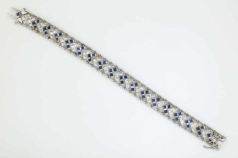 1920s Art Deco French Cut Sapphire Diamond Platinum Flexible Bracelet 6