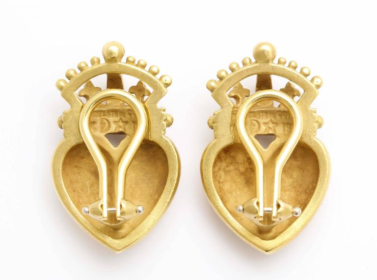 1987 Kieselstein Cord Heart and Crown Earrings 4