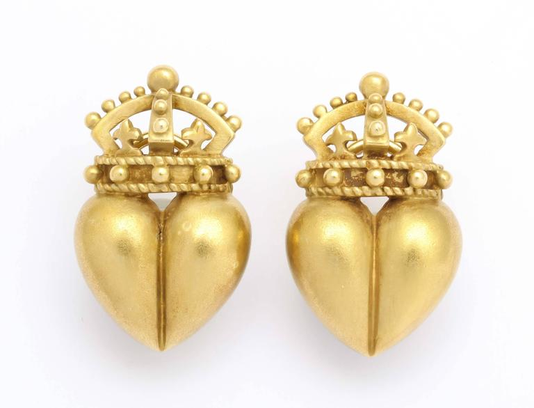 1987 Kieselstein Cord Heart and Crown Earrings 6