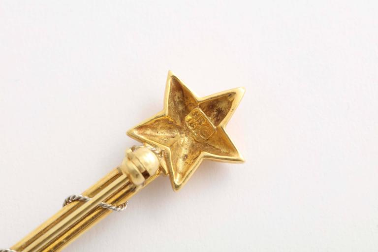 Charming Sapphire Gold Platinum Magic Wand Pin 6