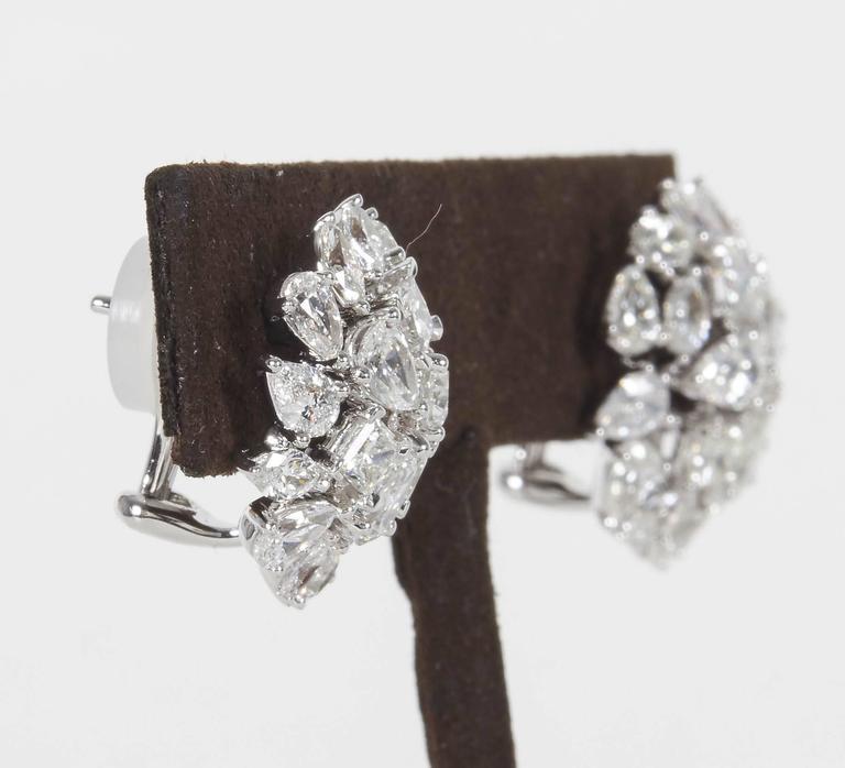 Multi Shape Diamond Gold Button Earrings 4
