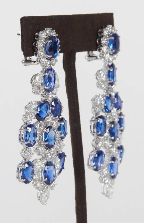 Important Sapphire Diamond Gold Chandelier Earrings 2