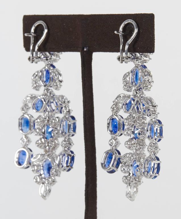 Important Sapphire Diamond Gold Chandelier Earrings 4