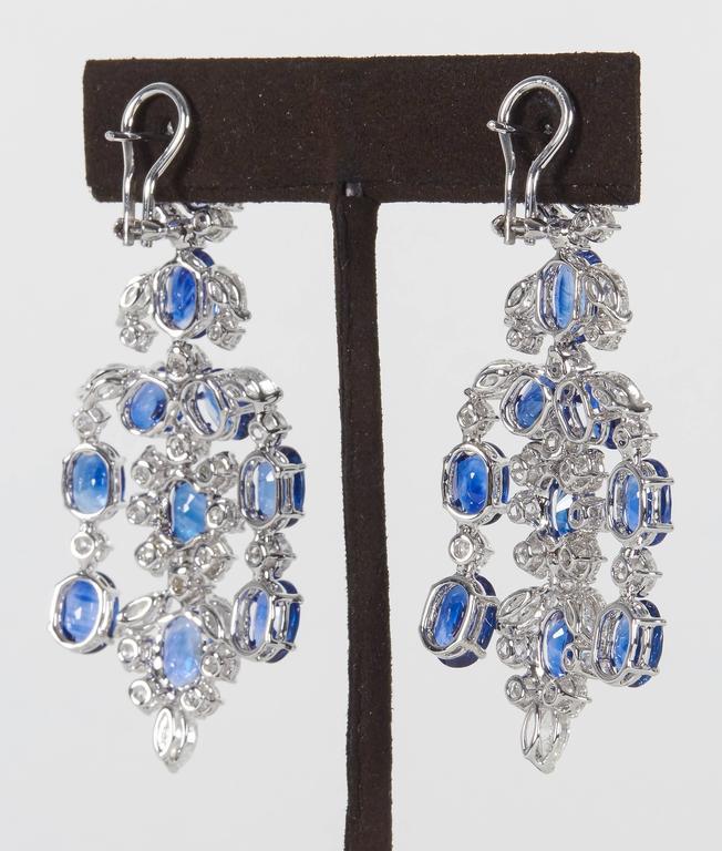 Important Sapphire Diamond Gold Chandelier Earrings 5