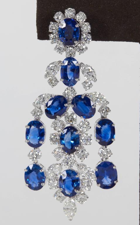 Important Sapphire Diamond Gold Chandelier Earrings 6