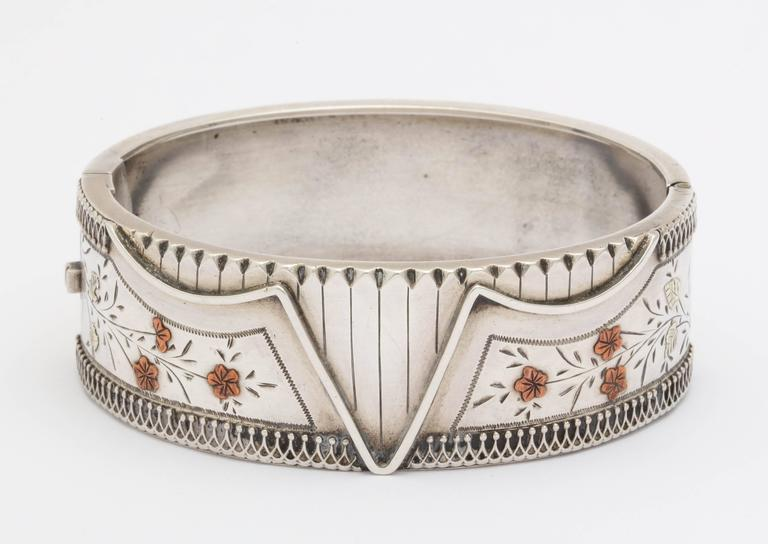 Antique Victorian Sterling Silver Corset Bracelet  c. 1870 In Excellent Condition For Sale In Stamford, CT