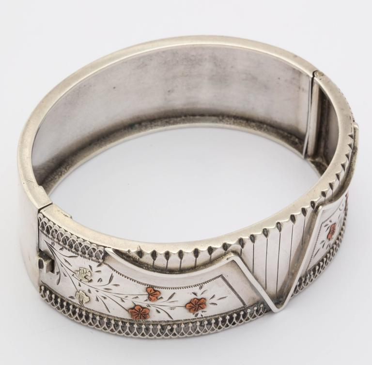 Women's Antique Victorian Sterling Silver Corset Bracelet  c. 1870 For Sale