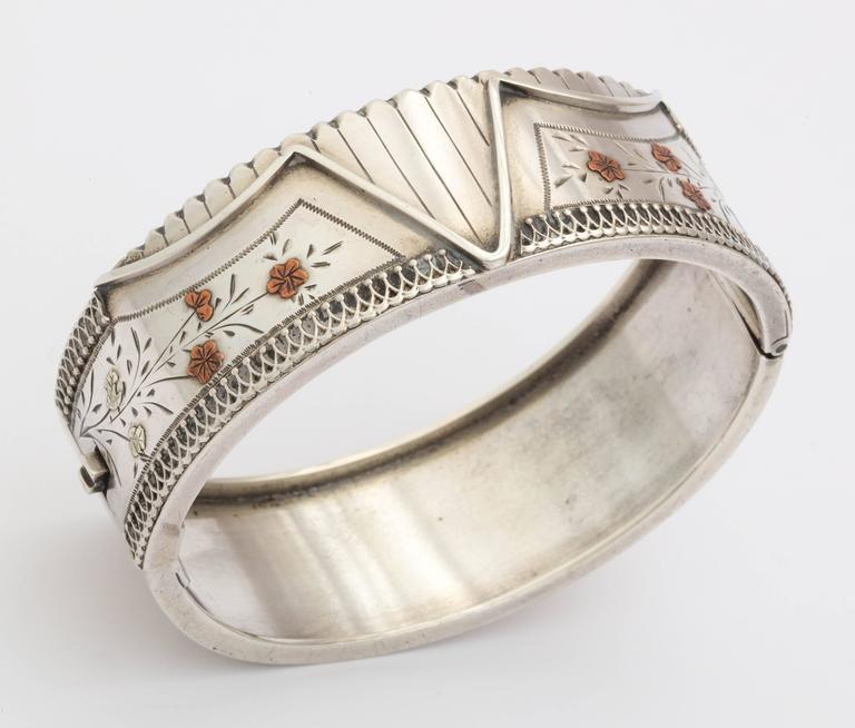 Antique Victorian Sterling Silver Corset Bracelet  c. 1870 For Sale 4