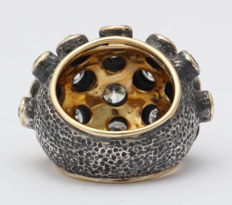 Marilyn Cooperman Diamond Patinated Silver Gold Ring In Excellent Condition In New York, NY
