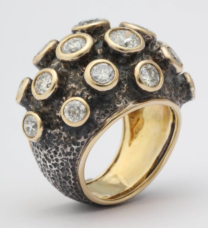 Marilyn Cooperman Diamond Patinated Silver Gold Ring 2