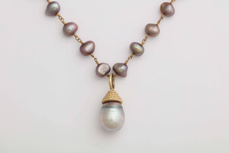 Lovely Gray Tahitian Pearl Pendant Necklace 2