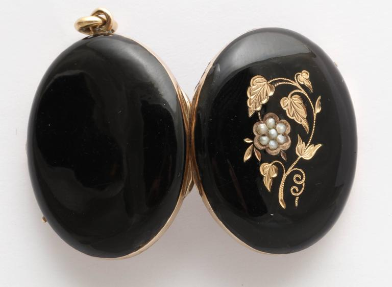 Victorian Black Enamel Seed Pearl Gold Locket For Sale 4