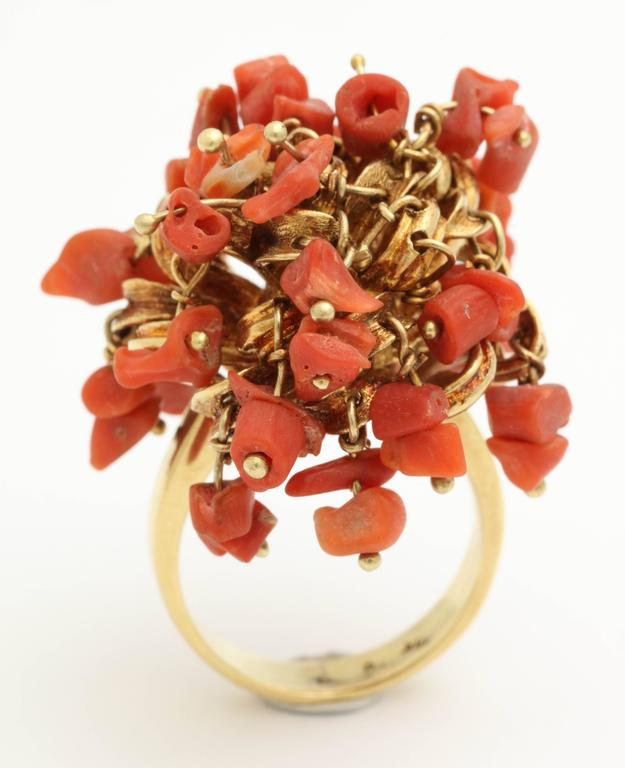 1960s Moveable Coral Gold Sea Urchin Ring 2