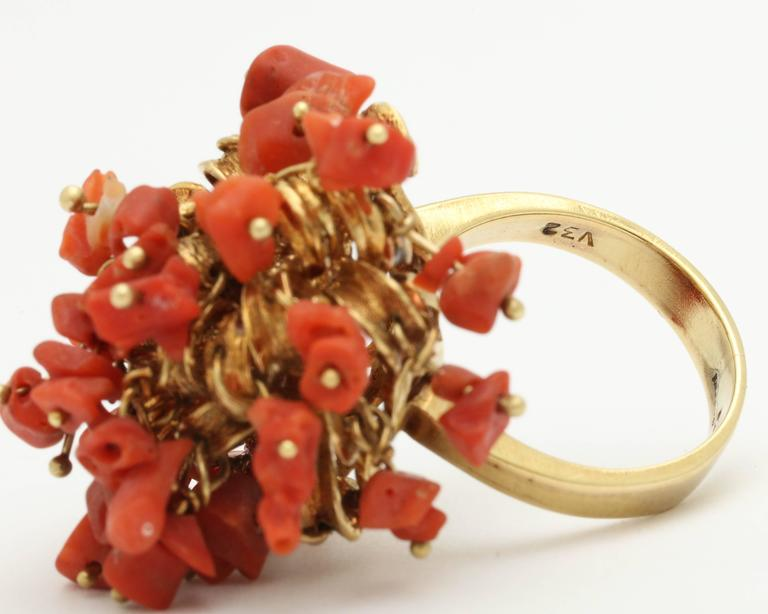 1960s Moveable Coral Gold Sea Urchin Ring 6