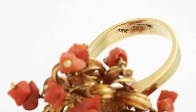 1960s Moveable Coral Gold Sea Urchin Ring 7