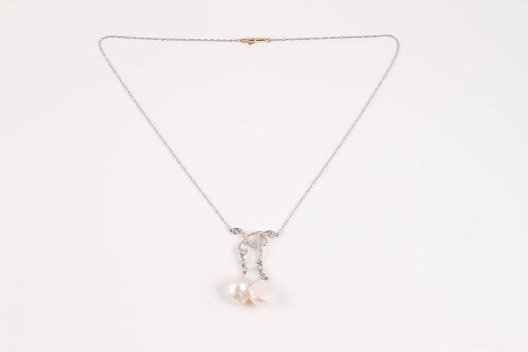 Edwardian Tiffany & Co. GIA Certified Natural Pearl Diamond Gold Platinum Necklace For Sale