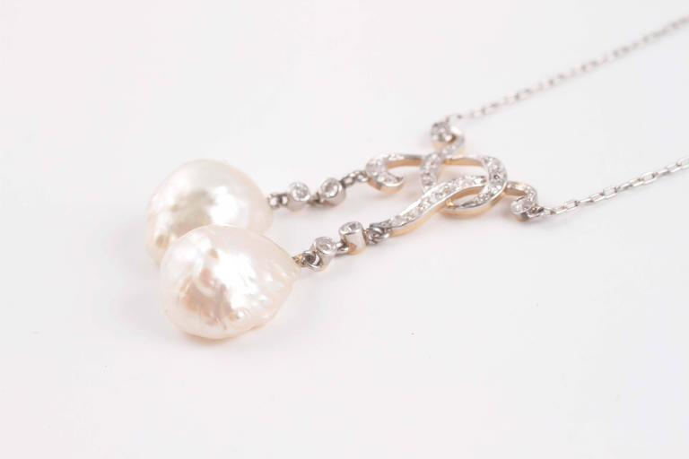 Tiffany & Co. GIA Certified Natural Pearl Diamond Gold Platinum Necklace In Excellent Condition For Sale In Dallas, TX