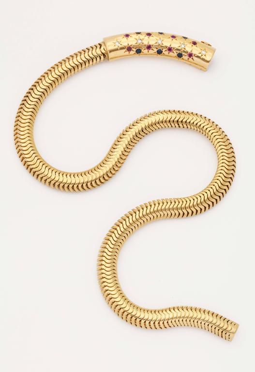 Women's  Retro Ruby Sapphire Diamond Gold Snake chain Necklace For Sale