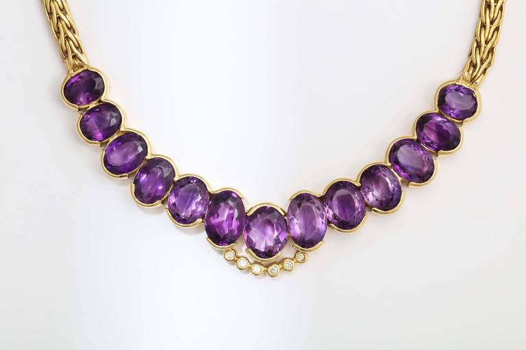 Roberto coin 1980s Amethyst Diamond Gold Collar Necklace With Sapphire Clasp 2
