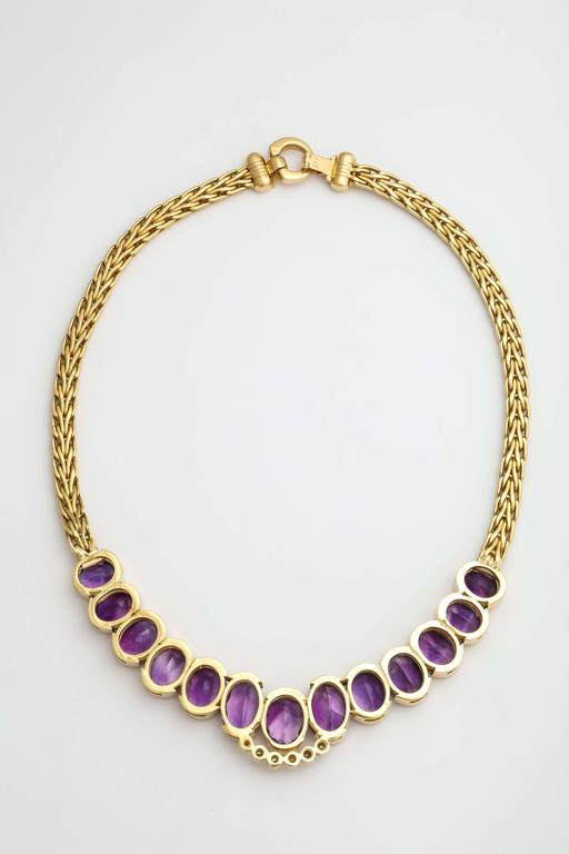 Roberto coin 1980s Amethyst Diamond Gold Collar Necklace With Sapphire Clasp 5