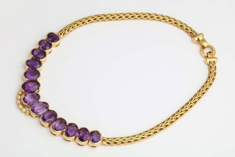 Roberto coin 1980s Amethyst Diamond Gold Collar Necklace With Sapphire Clasp 7