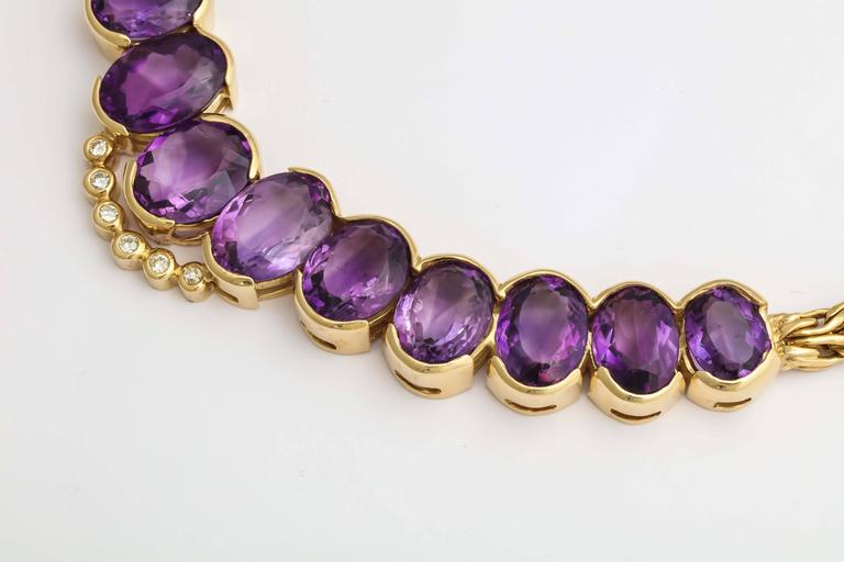 Roberto coin 1980s Amethyst Diamond Gold Collar Necklace With Sapphire Clasp 8