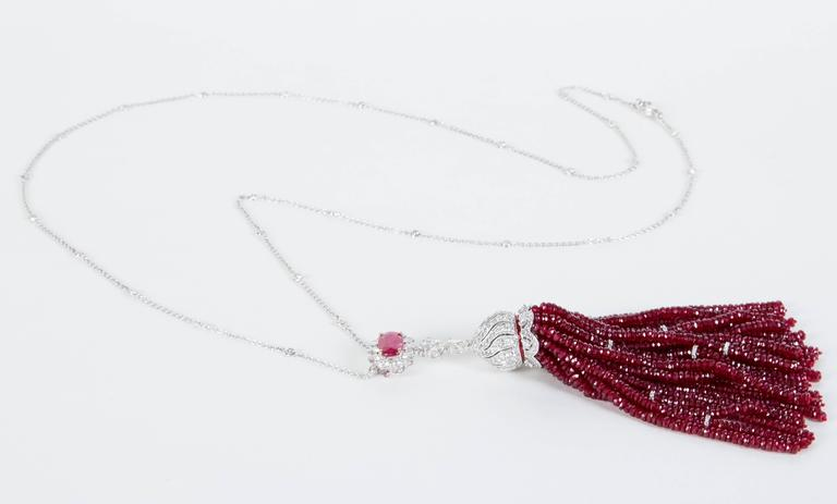 Women's Fabulous Important Ruby Tassel Necklace For Sale