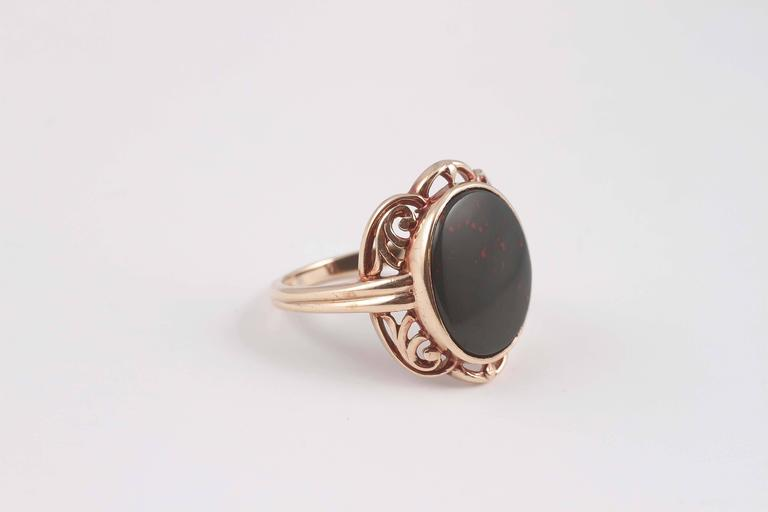 Women's Arts and Crafts Bloodstone Gold Ring For Sale