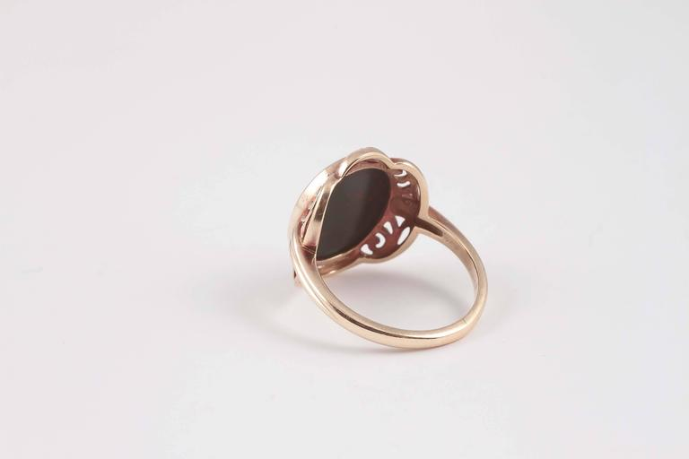 Arts and Crafts Bloodstone Gold Ring For Sale 2