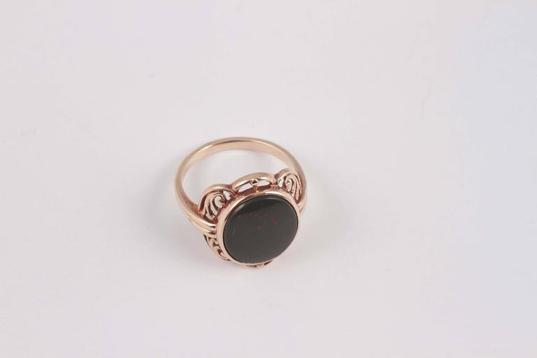 Arts and Crafts Bloodstone Gold Ring For Sale 3