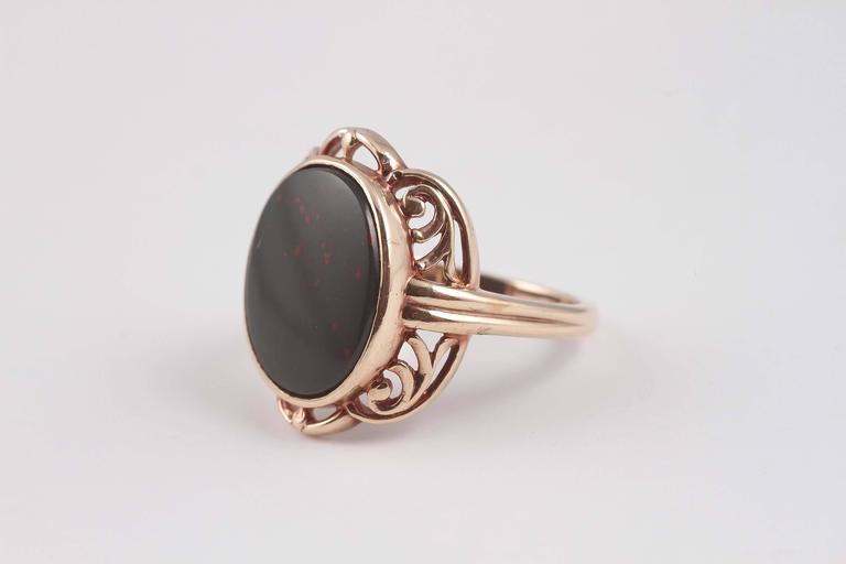 Arts and Crafts Bloodstone Gold Ring For Sale 4