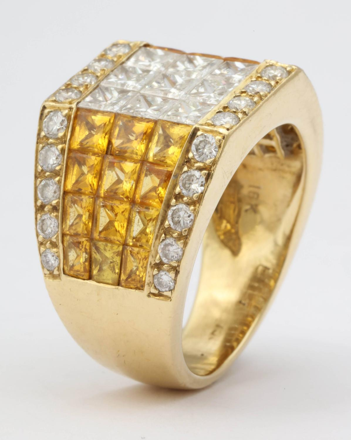 Intense Yellow Sapphire and Diamond Ring For Sale at 1stdibs