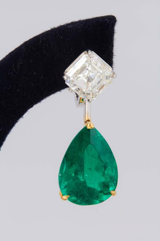 Stunning Colombian Emerald Diamond Gold Platinum Earrings 3