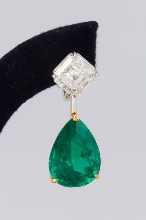 Stunning Colombian Emerald Diamond Gold Platinum Earrings 4
