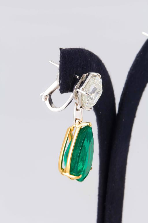 Stunning Colombian Emerald Diamond Gold Platinum Earrings 5