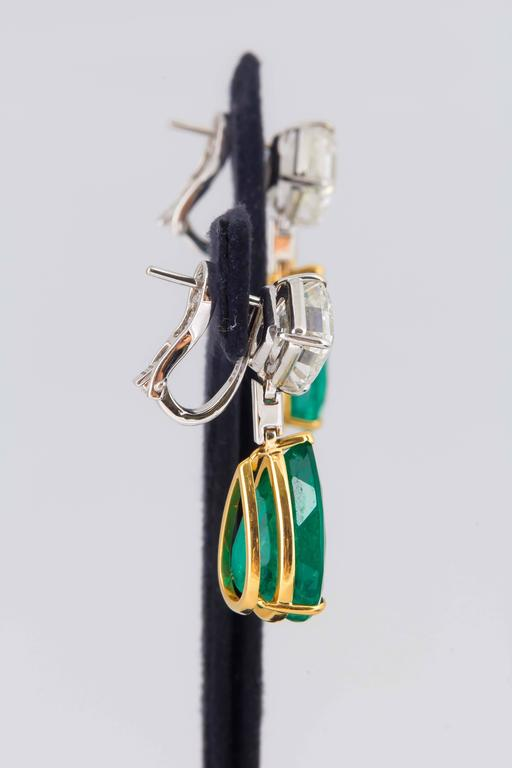 Stunning Colombian Emerald Diamond Gold Platinum Earrings 6
