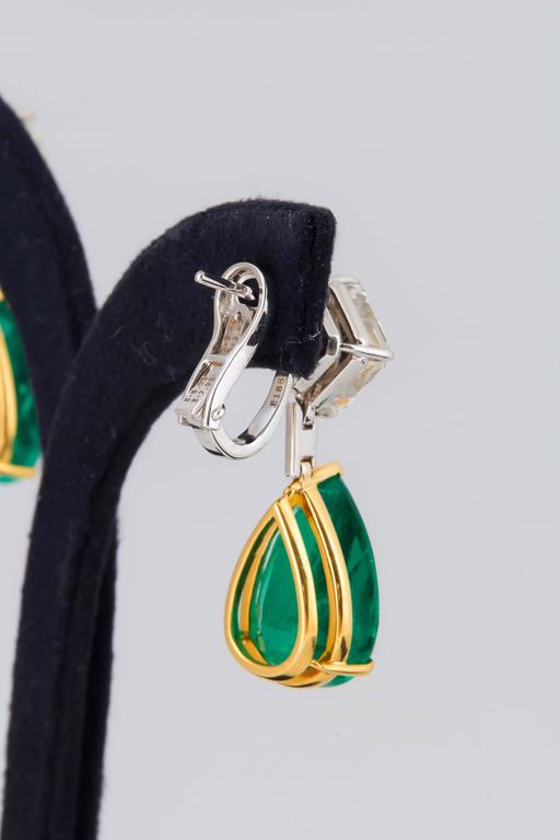 Stunning Colombian Emerald Diamond Gold Platinum Earrings 7