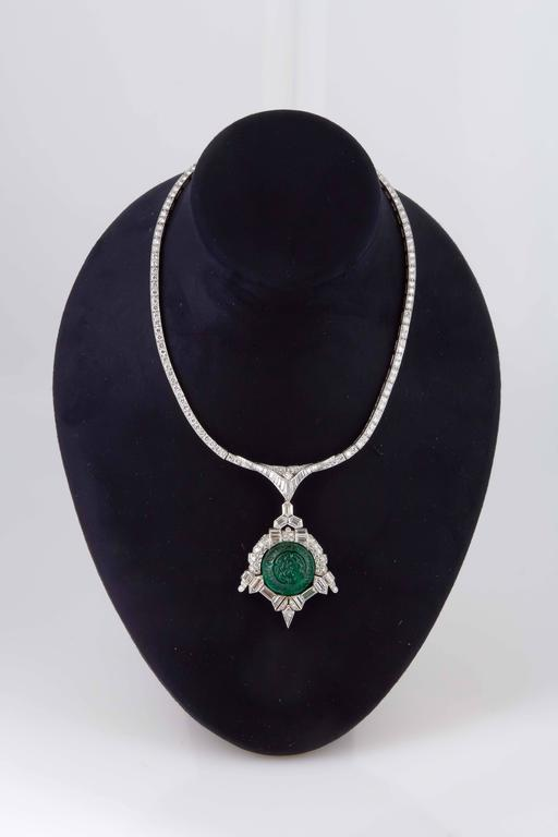 Art Deco 35.00 Carats Emerald Diamond Platinum Necklace In As New Condition For Sale In New York, NY