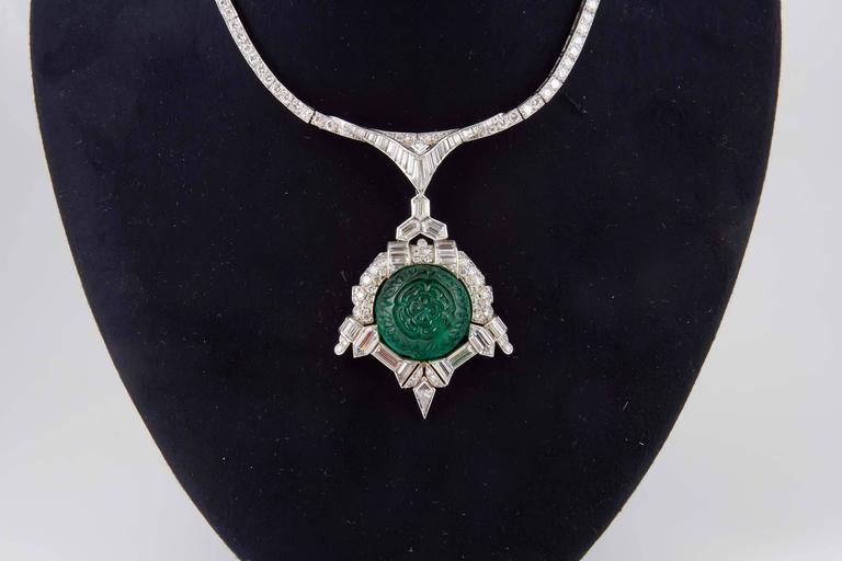 Women's Art Deco 35.00 Carats Emerald Diamond Platinum Necklace For Sale