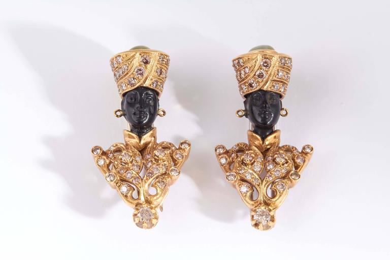 Nardi Tiger's Eye Carved Ebony Gold Blackamoor Brooches 2