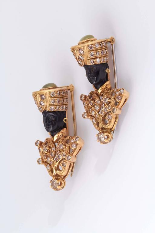 Nardi Tiger's Eye Carved Ebony Gold Blackamoor Brooches 5